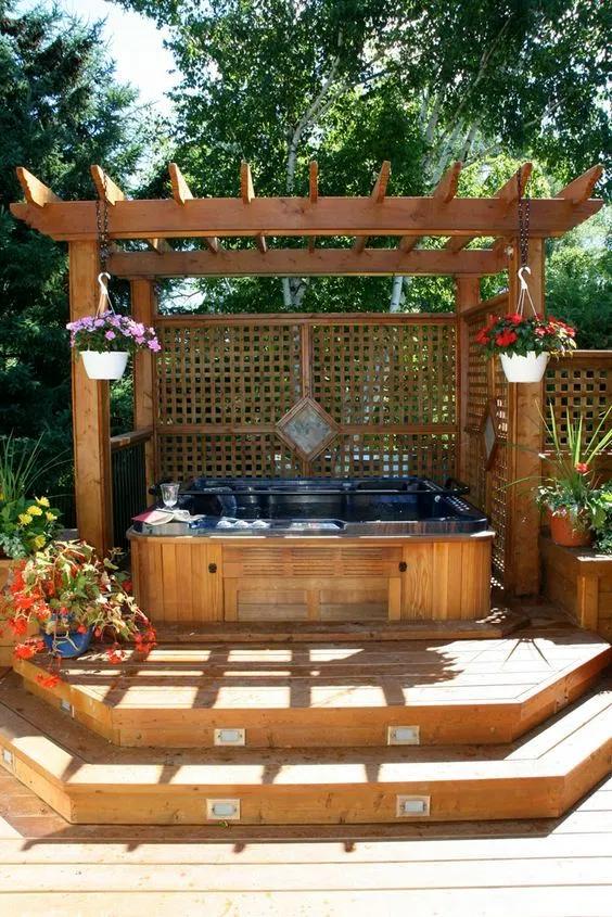 abris spa en bois avec deck
